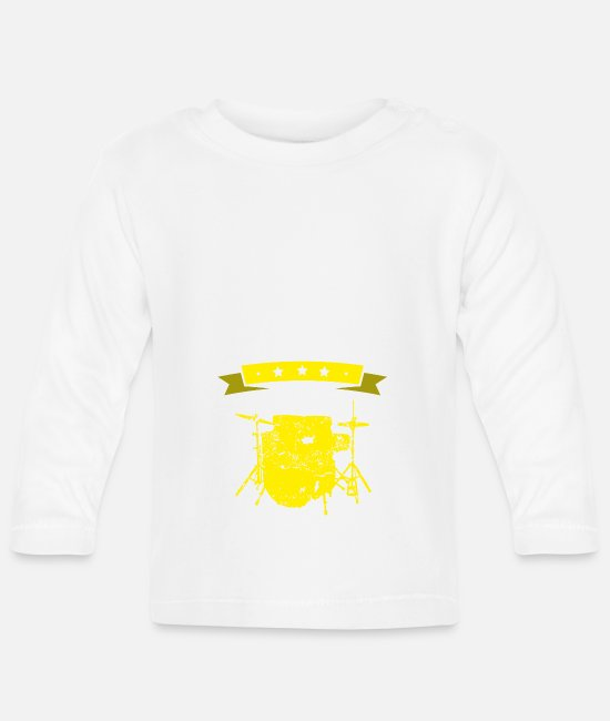 Birthday Baby Clothes - I love drums yellow gift I love - Baby Longsleeve Shirt white