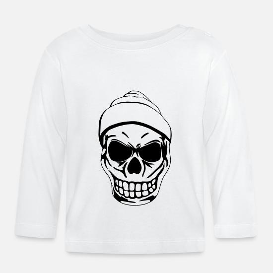 offizieller Verkauf Bestbewertete Mode Sportschuhe Totenkopf Baby Langarmshirt - Weiß