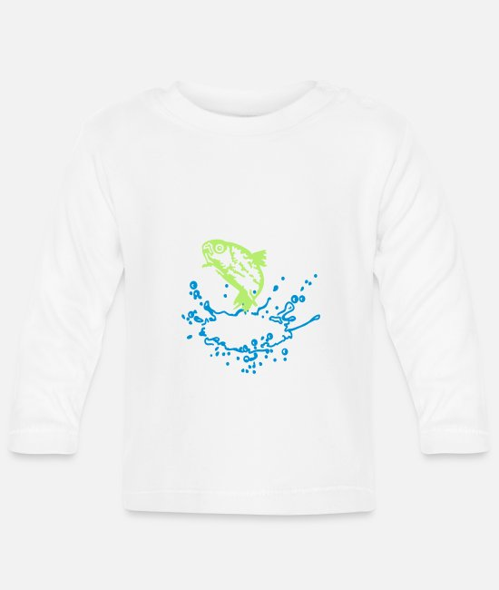 Fishing Baby Clothes - Forelle / Trout (1c) - Baby Longsleeve Shirt white