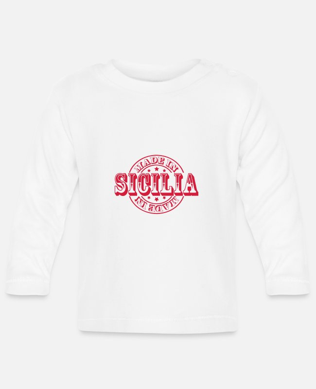 Sicily Baby Long-Sleeved Shirts - Made in Sicilia m1k2 - Baby Longsleeve Shirt white