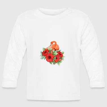 Flamingo with hibiscus - Baby Long Sleeve T-Shirt