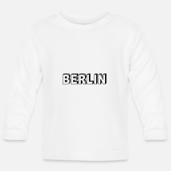 Typography Baby Clothes - Berlin Block font - Baby Longsleeve Shirt white