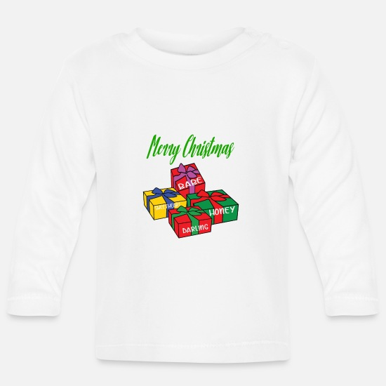 Christmas Baby Clothes - Christmas presents Merry Christmas Christmas - Baby Longsleeve Shirt white