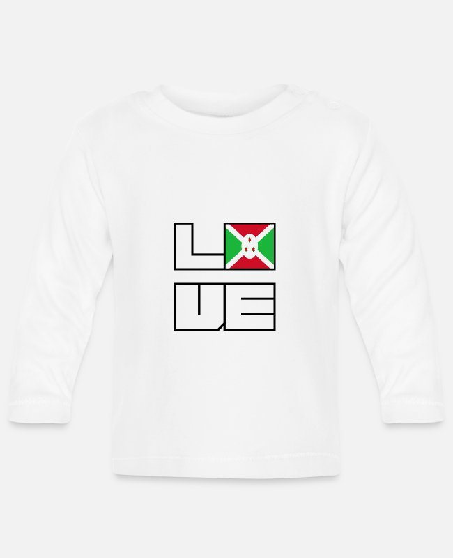 EU Baby Long-Sleeved Shirts - Love home roots Roots Burundi - Baby Longsleeve Shirt white