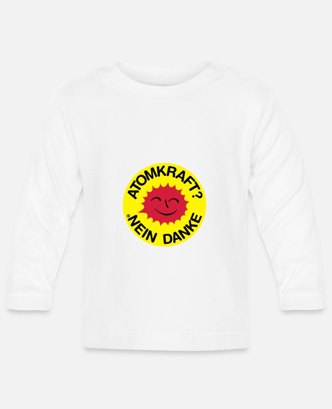 Chernobyl Baby Long-Sleeved Shirts - Nuclear power? No thank you! Logo smiling sun - Baby Longsleeve Shirt white