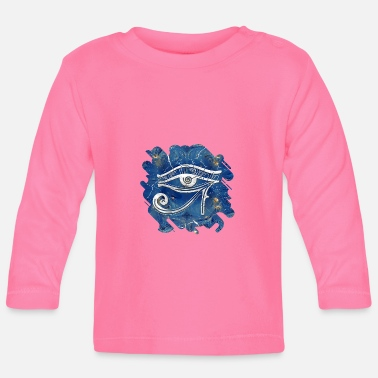 Silver Egyptian Eye of Horus on blue marble - Baby Longsleeve Shirt