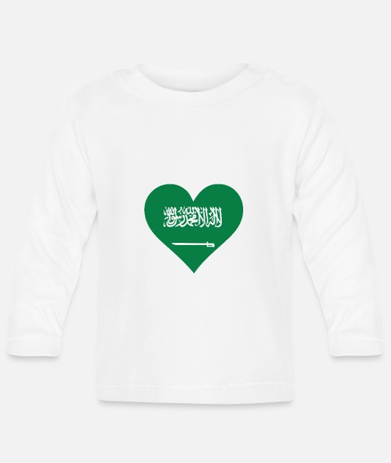 Saudi Arabia Baby Long-Sleeved Shirts - A Heart For Saudi Arabia - Baby Longsleeve Shirt white