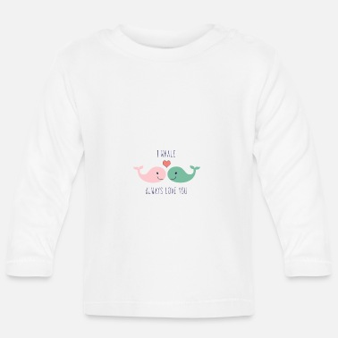 Lovely Cute whales love in love saying love gift couple - Baby Longsleeve Shirt