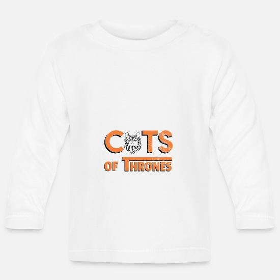 Birthday Baby Clothes - Cats of Thrones - Baby Longsleeve Shirt white