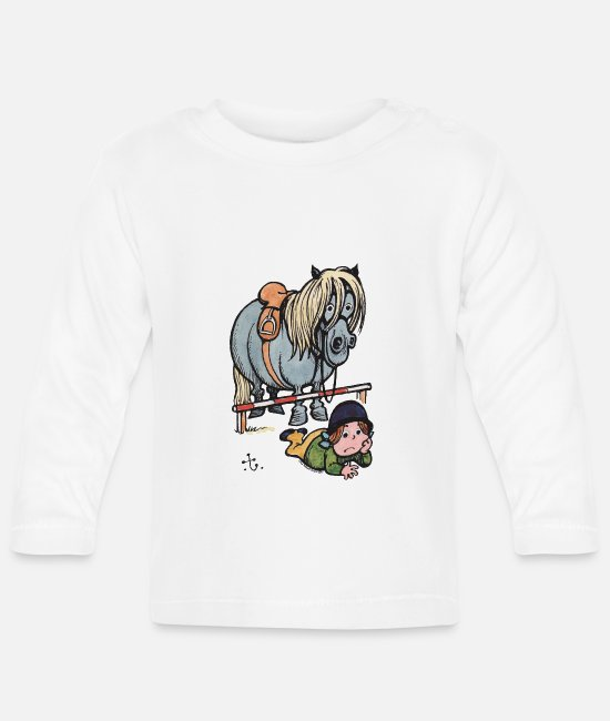 Drawing Baby shirts met lange mouwen - Thelwell Funny Showjumping Gone Wrong - Baby longsleeve wit