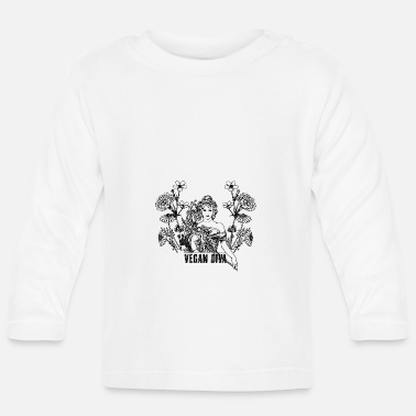 Vegan Diva - lady with flowers - Baby Longsleeve Shirt