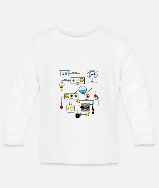 Alcohol Baby Clothes - Beer Brewing Schematic | Brewer Brewery Gift - Baby Longsleeve Shirt white