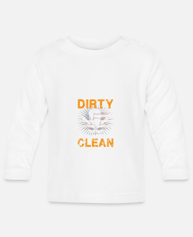Fish Hook Baby Long-Sleeved Shirts - My Thoughts are Dirty but my Welds are Clean - Baby Longsleeve Shirt white