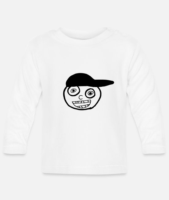 Doodle Baby Long-Sleeved Shirts - Kid In A Cap Full Face - Baby Longsleeve Shirt white