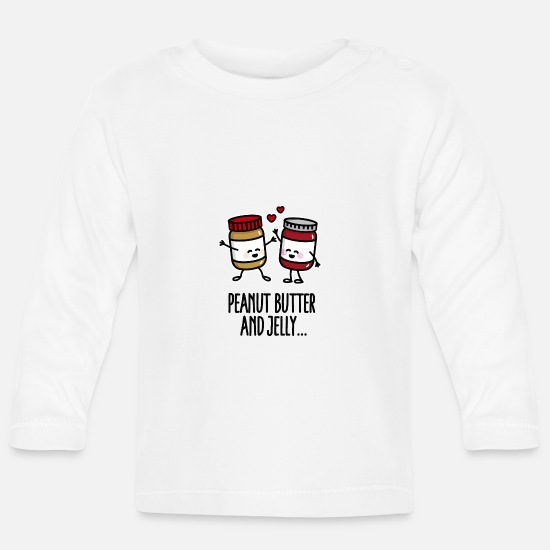 Grappige  Babykleding - Peanut butter and jelly - Baby longsleeve wit