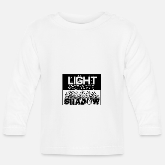 Pigeon Baby Clothes - Shadow turns into Light - Ravens and Doves - Baby Longsleeve Shirt white