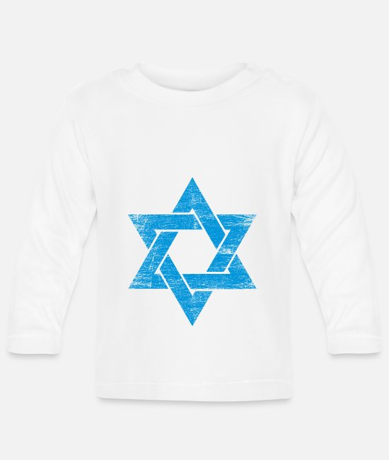 Gaza Strip Baby Long-Sleeved Shirts - Israel star jew religion star of david gift - Baby Longsleeve Shirt white