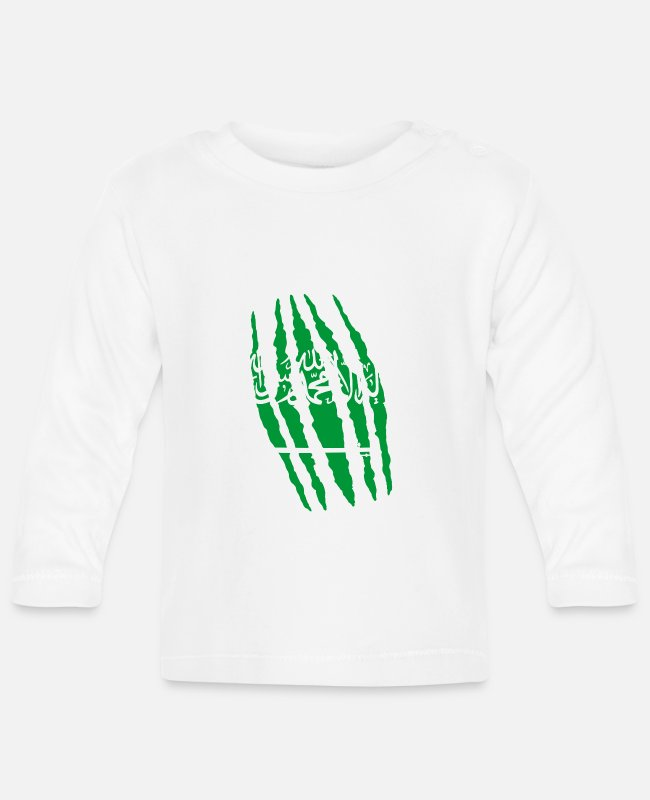Saudi Arabia Baby Long-Sleeved Shirts - Claw claw cracks origin Saudi Arabia png - Baby Longsleeve Shirt white