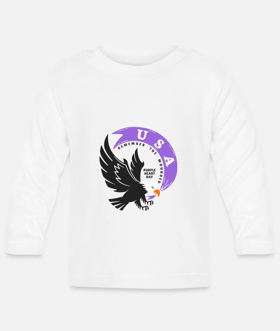 Lilac Baby Long-Sleeved Shirts - USA Purple Heart Day - Baby Longsleeve Shirt white