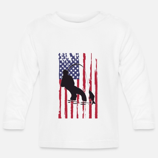 Stars And Stripes Baby Clothes - America - Baby Longsleeve Shirt white