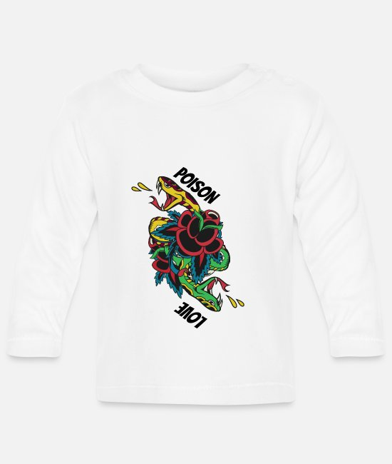 Dia De Los Baby shirts met lange mouwen - Poison Love Tatto Snake Snake Poisoned Love - Baby longsleeve wit
