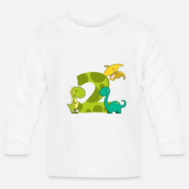 Boy Dinosaur 2 2 year old boy dinosaur 2nd birthday - Baby Longsleeve Shirt