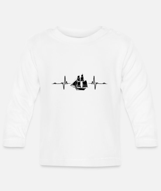 Water Baby Long-Sleeved Shirts - Sailing sailboat yacht captain heartbeat gift - Baby Longsleeve Shirt white