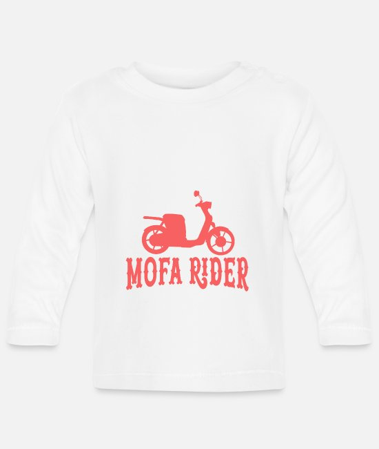 Motorcycle Baby Long-Sleeved Shirts - Moped moped biker scooter motorcycle - Baby Longsleeve Shirt white