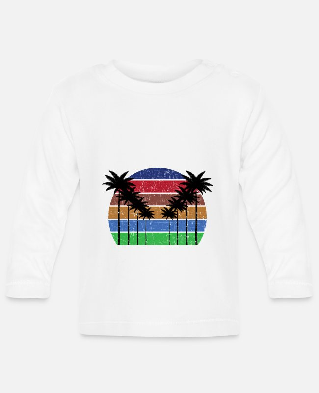 Travel Bug Baby Long-Sleeved Shirts - Palm Tree Summer Surfing Vacation Michigan - Baby Longsleeve Shirt white
