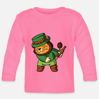 Green Beer Flossing Lion Leprechaun Zoo animals dancing - Baby Longsleeve Shirt