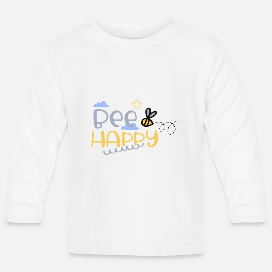 Bee Baby Clothes - Funny bee Bee Happy - flowers & sun - Baby Longsleeve Shirt white