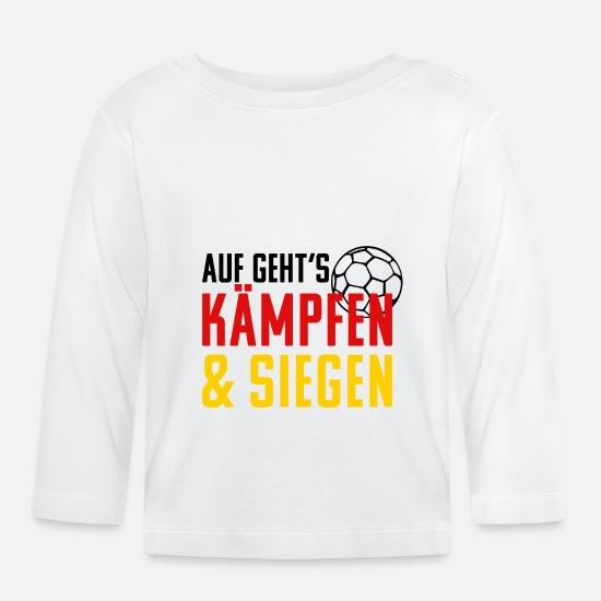 51636e0233 Weltmeisterschaft Babykleidung - Handball Kämpfen und Siegen. Handballer  Geschenk - Baby Langarmshirt Weiß