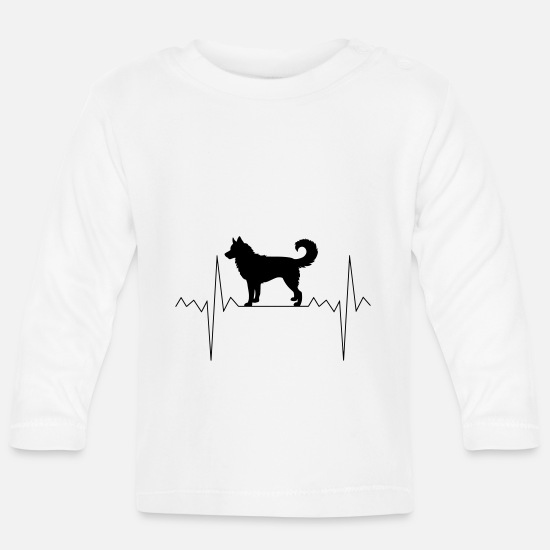Birthday Baby Clothes - Heartbeat heart rate Husky - Baby Longsleeve Shirt white