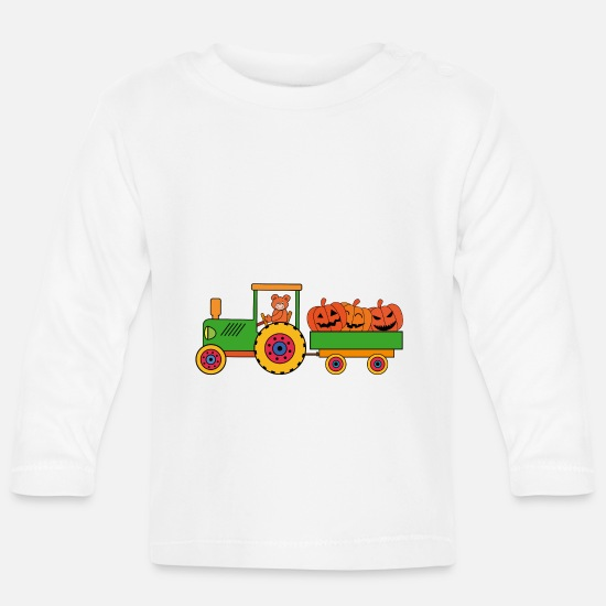 Halloween Baby Clothes - Halloween tractor with teddy bears - Baby Longsleeve Shirt white