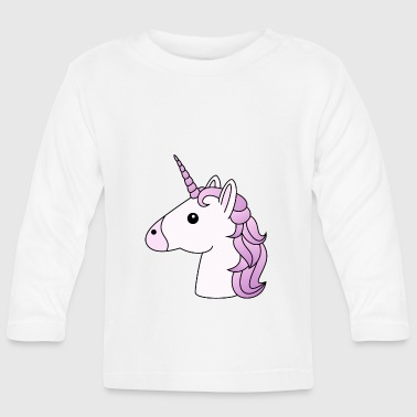 Lilac Unicorn head in lilac - Baby Long Sleeve T-Shirt