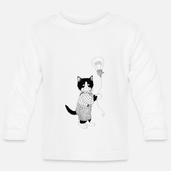 Nostalgia Baby Clothes - Cat light bulb balloon blackwhitecontest - Baby Longsleeve Shirt white