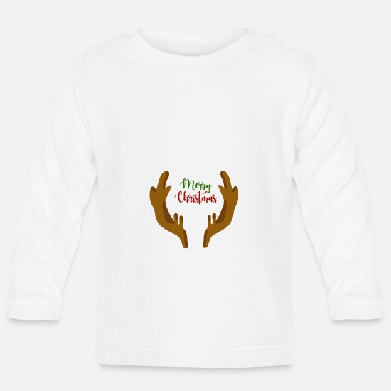 Gift Idea Baby Clothes - Merry Christmas Christmas present - Baby Longsleeve Shirt white