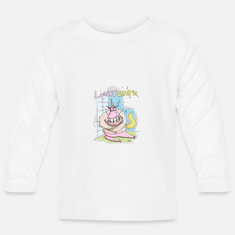 Comic Baby Clothing - Crazy Unicorn in the straitjacket - Baby Longsleeve Shirt white