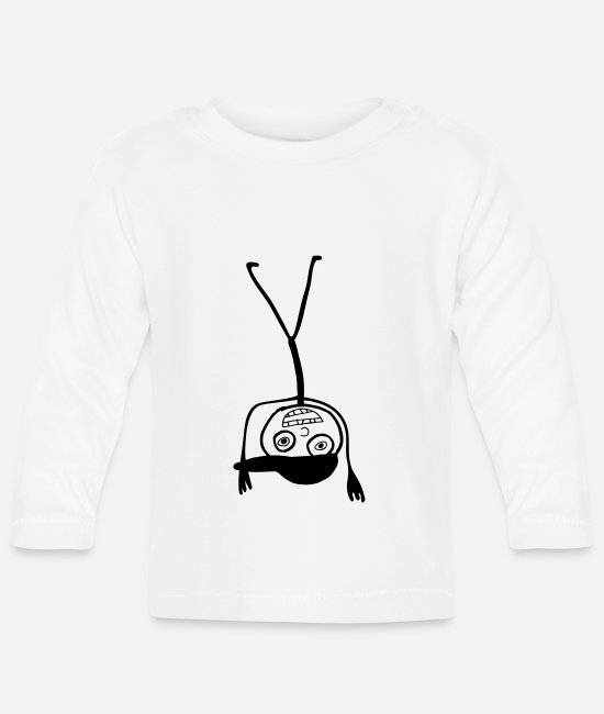 Stick Man Baby Long-Sleeved Shirts - Kid In A Cap Handstand - Baby Longsleeve Shirt white