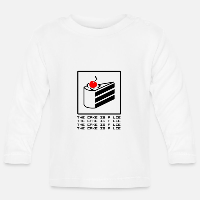 Computer Baby Clothing - THE CAKE IS A LIE - Baby Longsleeve Shirt white