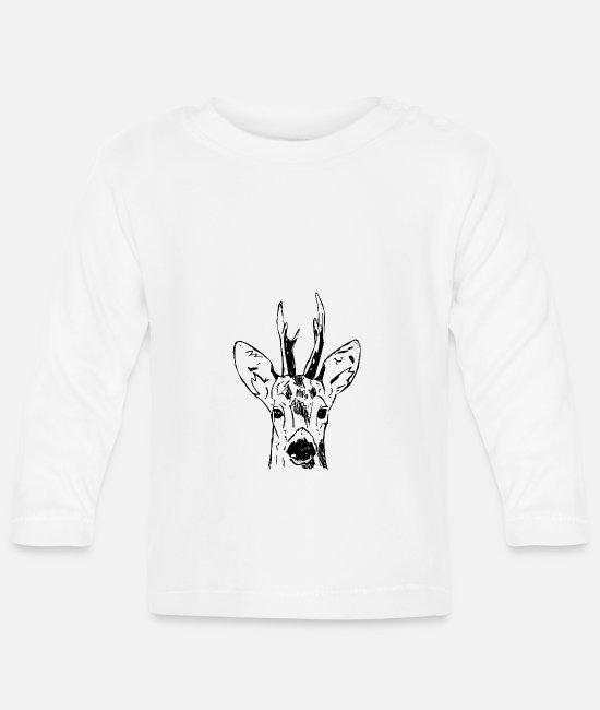 Stag Baby Long-Sleeved Shirts - Ree - Baby Longsleeve Shirt white