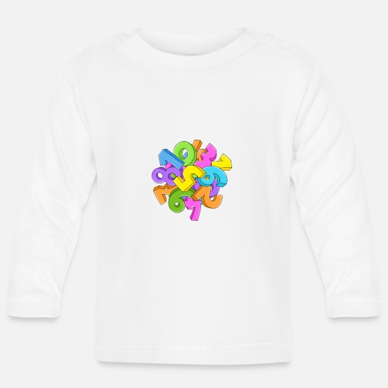 Maths Baby Clothes - numbers - Baby Longsleeve Shirt white