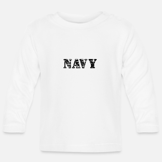 Fisherman Baby Clothes - NAVY - Baby Longsleeve Shirt white