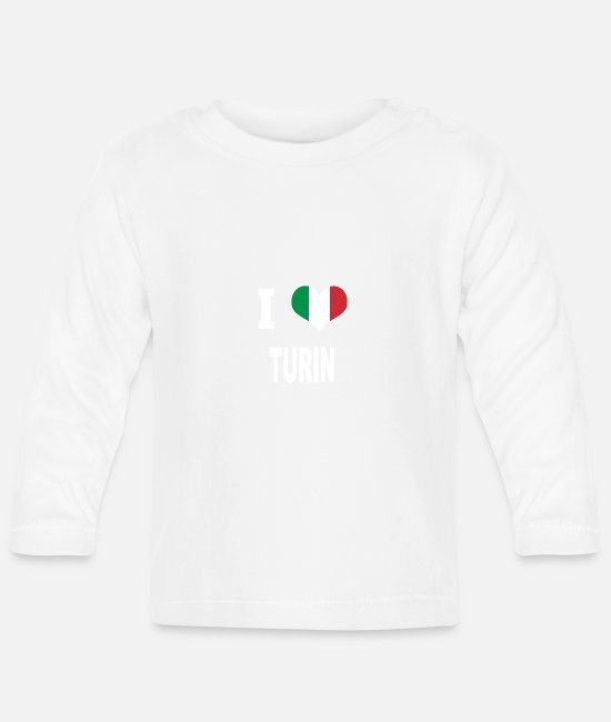 Turin Baby Long-Sleeved Shirts - I Love Italy TURIN - Baby Longsleeve Shirt white
