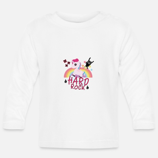 Hard Rock Baby Clothes - Hard Rock Unicorn Rainbow Festival Gift - Baby Longsleeve Shirt white