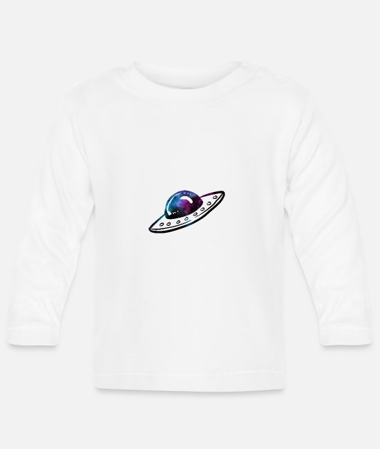 Space Baby Long-Sleeved Shirts - UFO space - Baby Longsleeve Shirt white