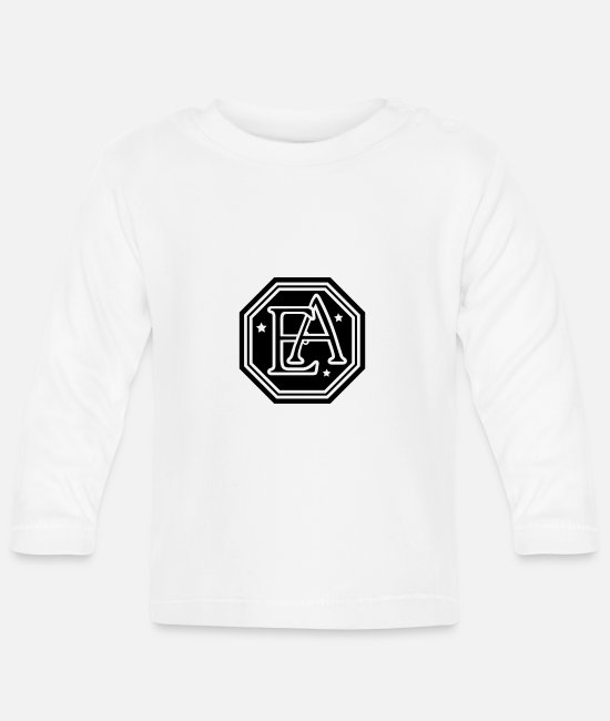 Abbreviation Baby Long Sleeve Shirts - ea monogram letters - Baby Longsleeve Shirt white