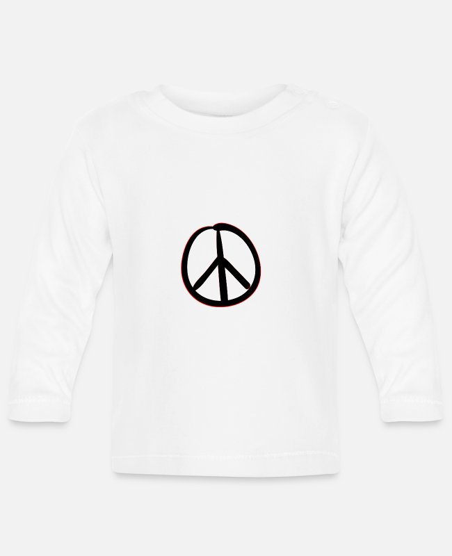 Peace For Paris Baby Long-Sleeved Shirts - Peace Sign - Peace - Baby Longsleeve Shirt white