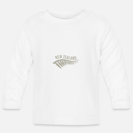 Rugby Baby Clothes - Maori New Zealand Silverfarn Tribal Tattoo Gift - Baby Longsleeve Shirt white