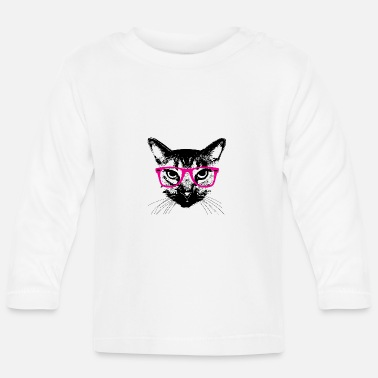 Hipster Katze Pinke Brille Hipster Cat glasses - Baby Longsleeve Shirt